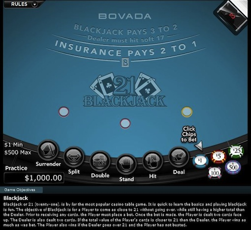 Blackjack at Bovada Casino