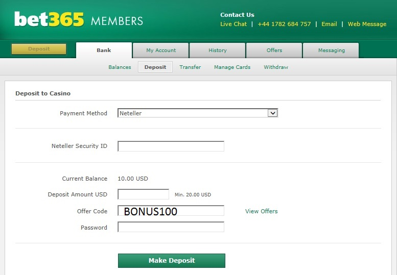 Bet365 Casino Offer Code