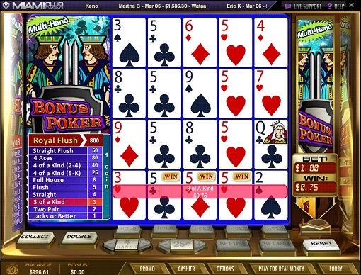 Miami Club Casino Video Poker