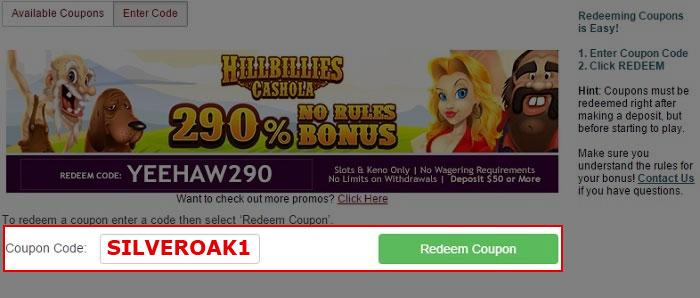 Silver Oak Casino Coupon Code: SILVEROAK1