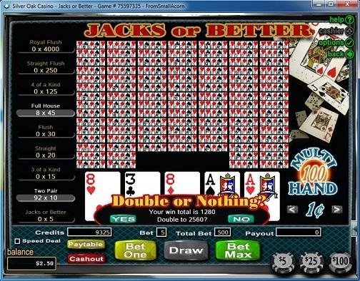 Silver Oak Casino Video Poker